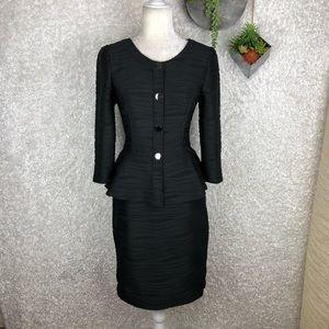 Spense Black Textured Skirt Suit